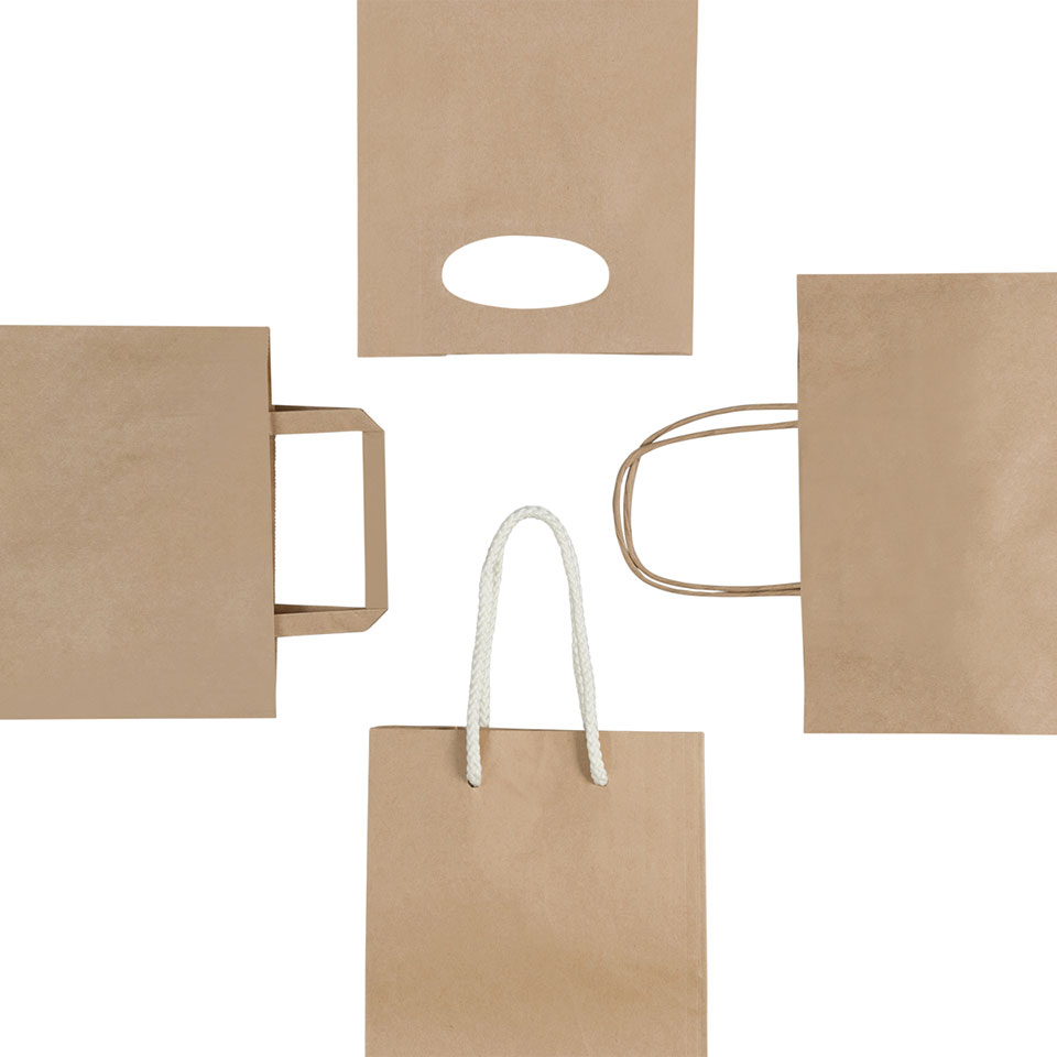 Image of paper bags with different types of handles