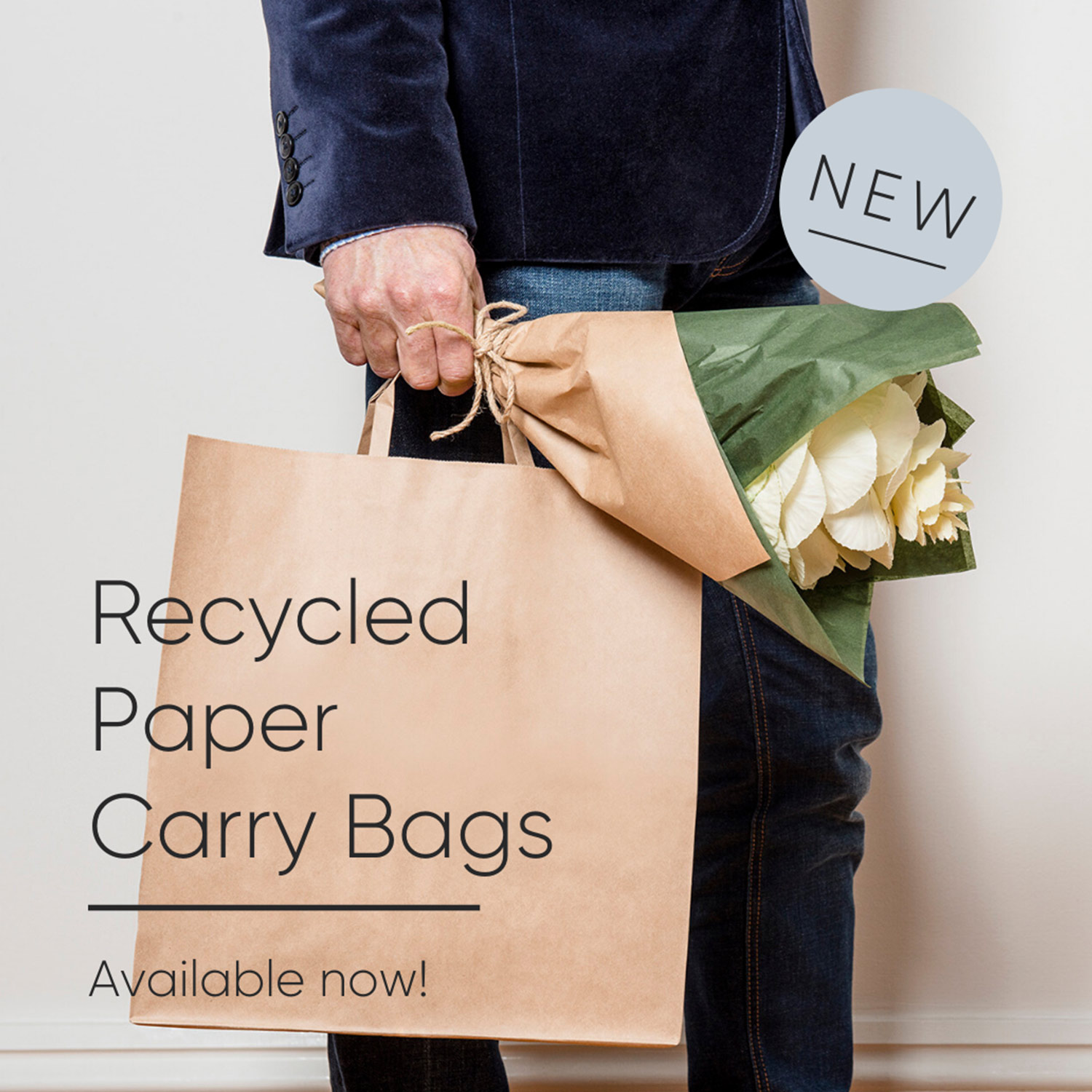 "Image of a man carrying a paper bag with text ""recycled paper carry bags"""