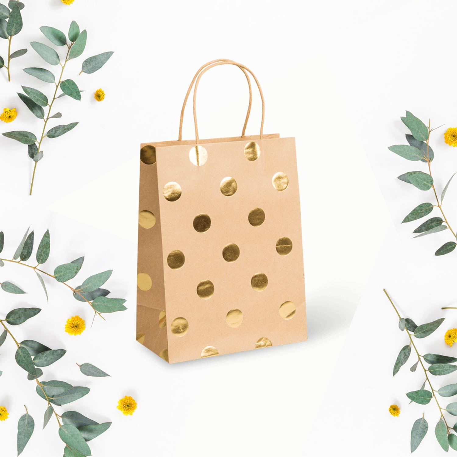 Image of the PaperPak gold spot bag - a brown kraft bag with gold spots