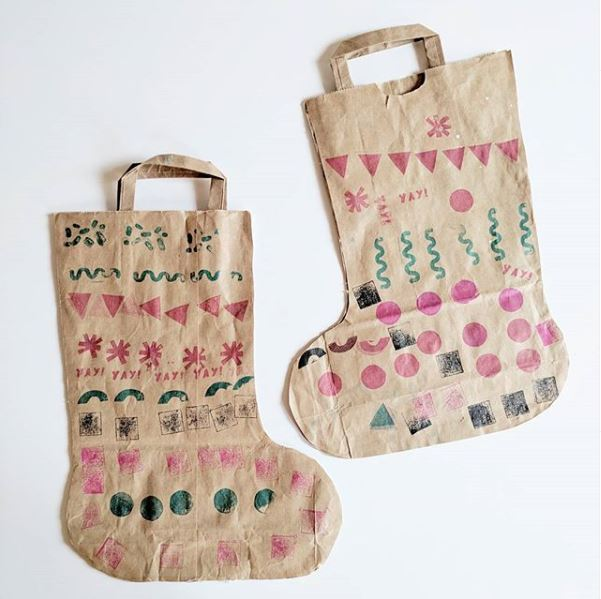 Image of paper bags as stockings