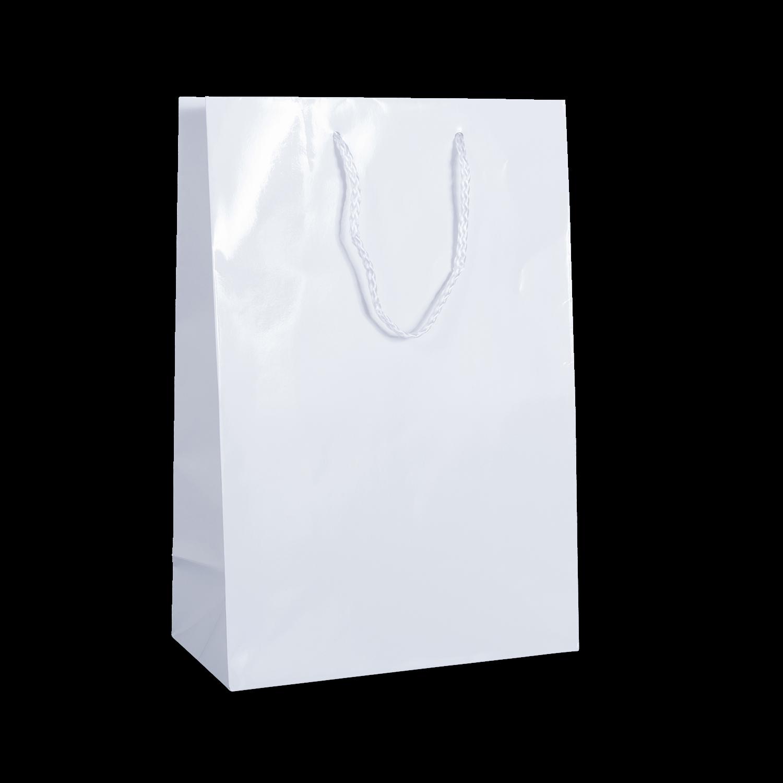 White Sorrento Gloss Rope Handle Bag Carry Bags